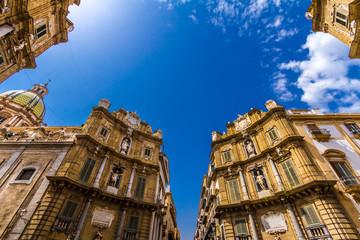 Fototapeta na wymiar Quattro Canti square in Palermo, Italy