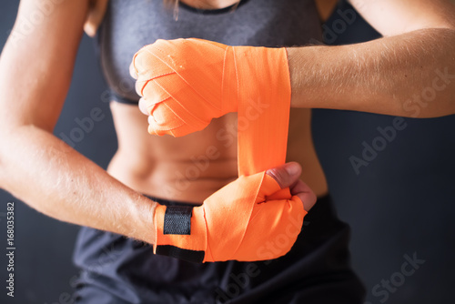 Garden Poster Martial arts Closeup Female Hands Wearing Boxing Bandages
