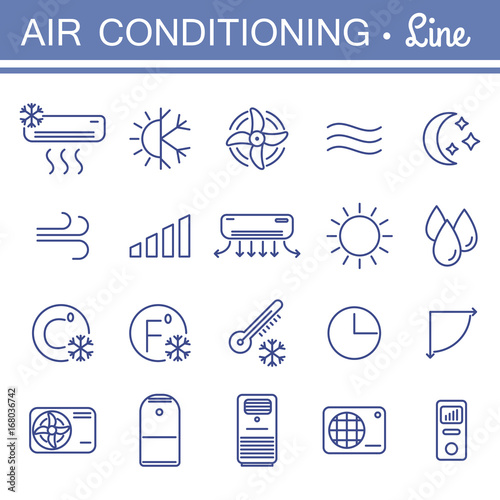 Fotografía  Simple set of air conditioning vector icons for your design.