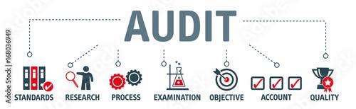 Photo Banner Audit concept vector illustration