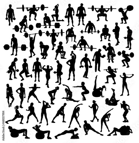 Fotografie, Obraz  Gymnastics, gym, weight lifting and fitness, art vector silhouettes design
