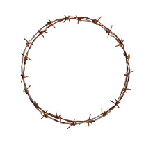 Barbed Wire Circle Isolated On...