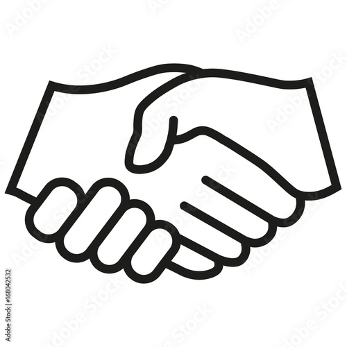 business handshake contract agreement icon flat black vector