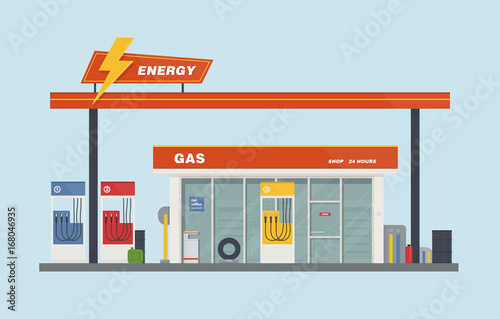 Fotografie, Obraz  Gas station cartoon flat vector illustration.