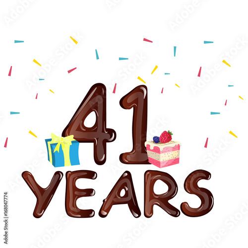 Fotografia  41 Years Anniversary celebration with gift box and cake