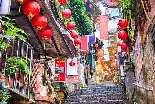 Poster Narrow alley Jiufen, Taiwan alleys and steps
