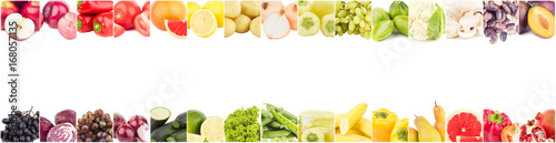 Tuinposter Verse groenten Line from different colored vegetables and fruits, isolated