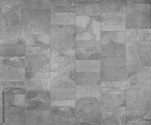 Fototapeta Slate tile ceramic, seamless texture light gray map for 3d graphics obraz