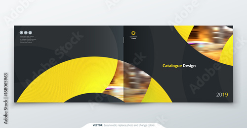 Photo Stands Gray traffic Landscape Catalog design. Yellow corporate business rectangle template brochure, report, catalog, magazine. Brochure layout modern circle shape abstract background. Creative catalog vector concept