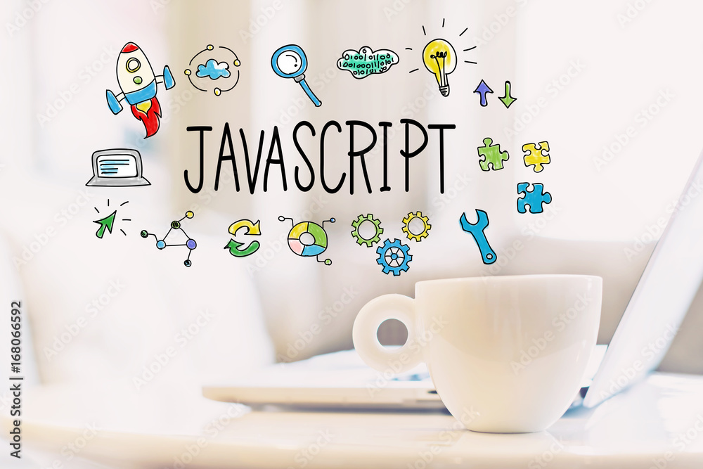 Fototapety, obrazy: JavaScript concept with a cup of coffee and a laptop