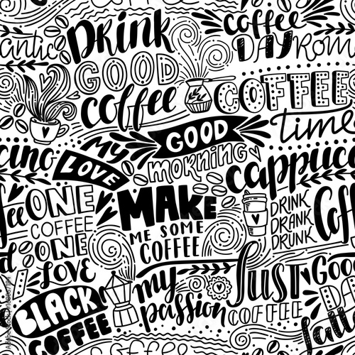 фотография  Seamless lettering coffee pattern with quotes
