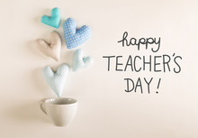 Teacher's Day Message With Blue Heart Cushions Coming Out Of A Coffee Cup