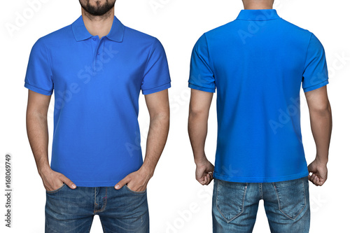 7dfaf2d6 men in blank blue polo shirt, front and back view, isolated white  background.