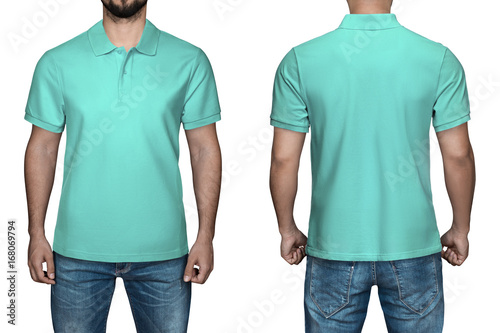 8beeeca0 men in blank turquoise polo shirt, front and back view, isolated white  background.