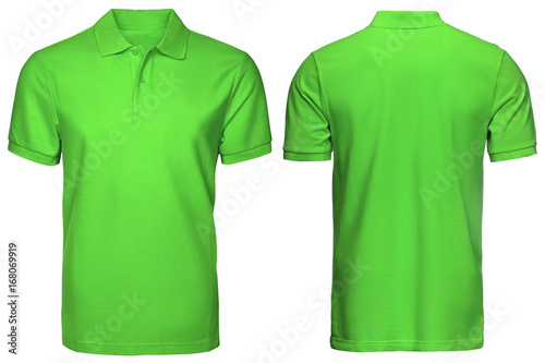 blank green polo shirt, front and back view, isolated white background. Design polo shirt, template and mockup for print. - 168069919