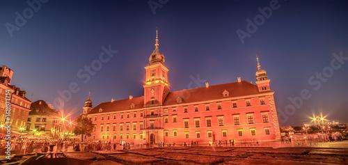 Obraz na dibondzie (fotoboard) Warszawa, Polska: Plac Zamkowy i Zamek Królewski, Zamek Królewski w Warszawie w nocy