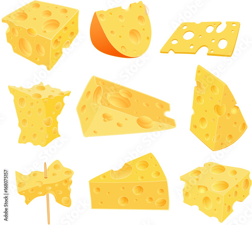 Foto auf AluDibond Babyzimmer Set Cartoon Illustration. Cheese Clip Art for you Design