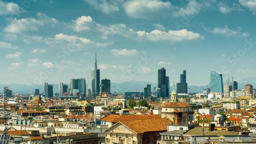 Autocollant pour porte Milan Milan skyline with modern skyscrapers