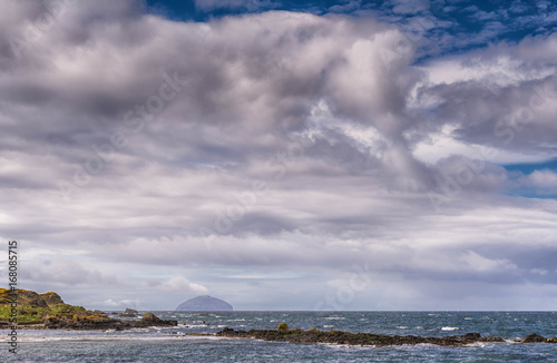 Photo Maidens Harbour & Bay Near Girvan and Ailsa Craig in the distance Scotland