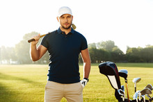 Handsome Confident Male Golfer...