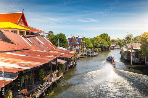 The long tail boat at Bangkok yai canal or Khlong Bang Luang