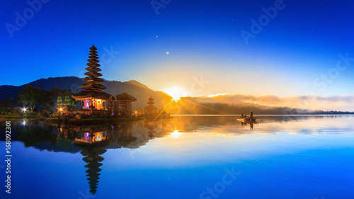 Pura Ulun Danu Bratan Temple On Water, Landmark Travel Place Of Bali, Indonesia (HDR Night And Day)