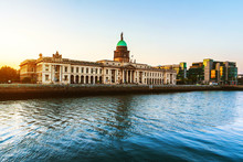 The Custom House In Dublin, Ireland In The Evening