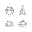 Set of vector mountain and outdoor adventures logo. Tourism, hiking and camping labels. Mountains and travel icons for tourism organizations, outdoor events and camping leisure. Iceberg, shep, marina.