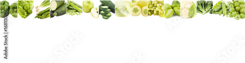 Lines from different green vegetables and fruits, isolated © lisssbetha