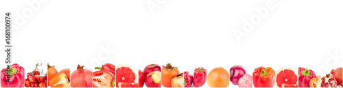 Lines from different red vegetables and fruits, isolated © lisssbetha