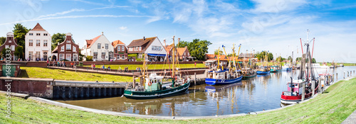 Wall Murals North Sea Panorama; Hafen mit Fischerbooten in Greetsiel, Nordsee, Deutschland