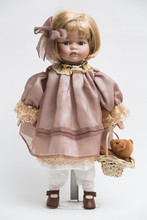 Ceramic Porcelain Handmade Doll With Blond Hair And Pink Dress