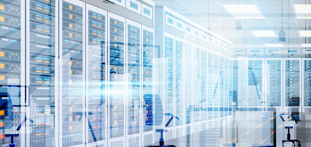Fototapeta Data Center Room Hosting Server Computer Information Database Synchronize Technology Flat Vector Illustration