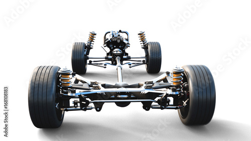Fotografía  Car chassis with engine on white isolate. 3d rendering.