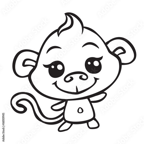 vector cute monkey coloring page illustration – kaufen Sie ...