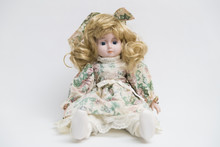 Ceramic Porcelain Handmade Doll With Long Blond Hair And Floral Dress