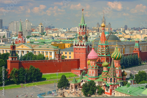 Photo  View on Moscow Red Square, Kremlin towers, Clock Kuranti, Saint Basil's Cathedral church, Lenin mausoleum