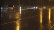 night traffic on the city highway during a heavy downpour