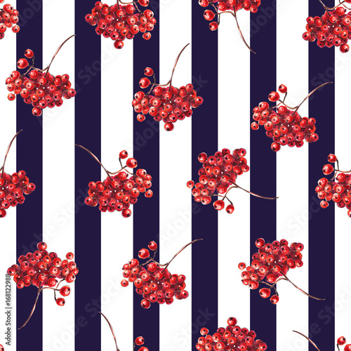 Red rowan berries pattern, striped seamless black pattern