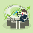 Young happy Business man hold plant growth from money coin with icon of business and creativity. Business investment growth concept. start up - vector illustration