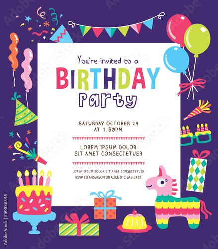 Kids Birthday Party Invitation Card Buy This Stock Vector