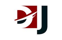 DJ Red Negative Space Square Swoosh Letter Logo