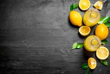 Cold Fresh Lemonade With Slices Of Ripe Lemons.