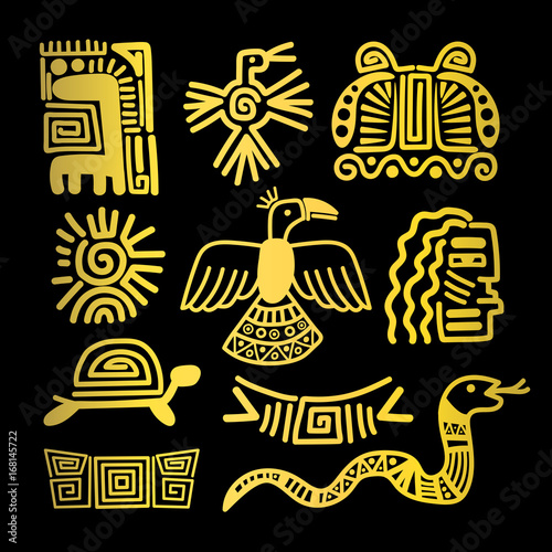 Tribal Indian Golden Symbols Buy This Stock Vector And Explore