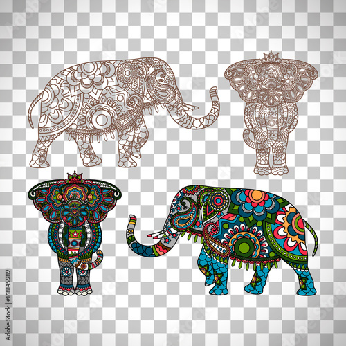Decorated elephant on transparent background Wallpaper Mural
