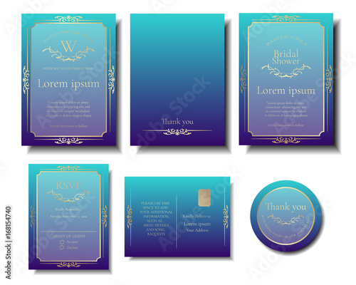 Set Of Deep Blue Sea Color Wedding Invitation Card And Gold Ornaments Frame Decoration Vector Ilration
