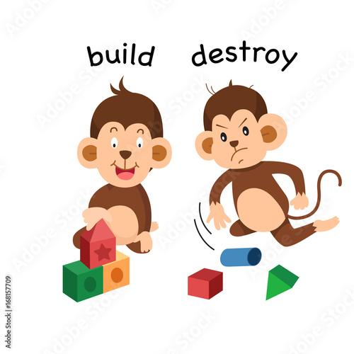 Opposite build and destroy illustration Canvas Print