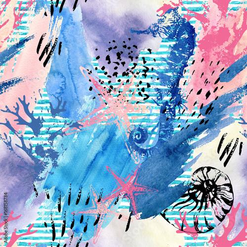 abstrakcjonistyczny-lato-plazy-bezszwowy-wzor-akwarela-podwodne-ocean-dzikiej-przyrody-z-shabby-korale-koniki-morskie-grunge-tekstur