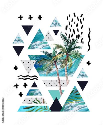 streszczenie-lato-geometryczny-wzor-plakatu