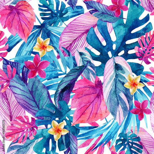 Photo sur Toile Empreintes Graphiques Watercolor exotic leaves and flowers background.